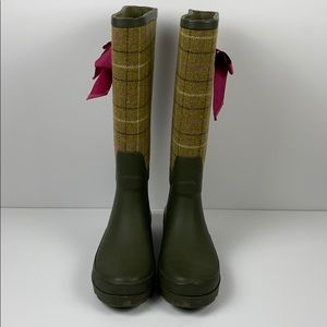 J Crew Green Plaid Rain Boots size 7